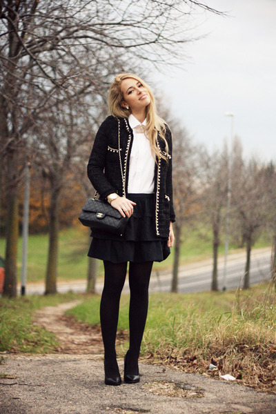 black Sheinside blazer - white Hugo Boss shirt - black Chanel bag