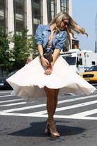 eggshell H&M skirt - blue tezenis shirt - bronze Blumarine shirt