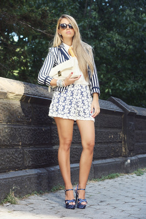 blue H&M blazer - white VJ-style bag - navy Lulus shorts - navy Bakers heels