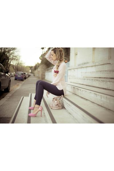 light pink Zara shirt - light pink Miu Miu bag - bubble gum sarenza heels