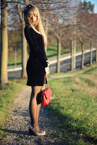 red Moschino bag - black Forever21 dress - gold Topshop heels