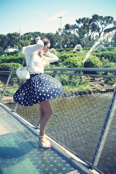 navy vintage skirt - white Zara shirt - white Stradivarius wedges
