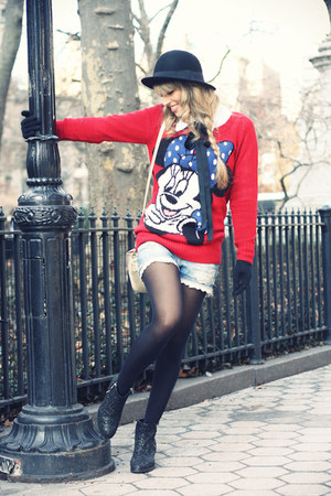 red H&M sweater - black Topshop boots - black H&M hat - blue Bershka shorts