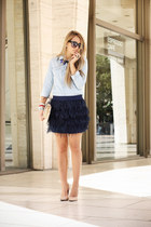 navy Miinto skirt - sky blue Forever21 shirt - neutral vintage bag