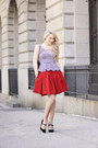 Black-chanel-bag-black-tailor-stylist-top-ruby-red-zara-skirt