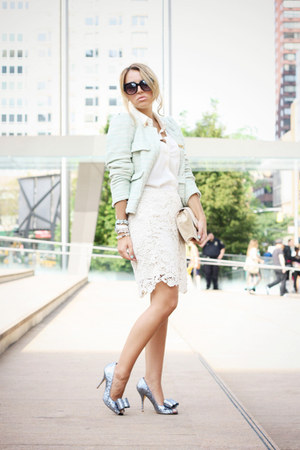 ivory Forever21 skirt - aquamarine Zara blazer - heather gray ted baker heels