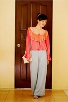 salmon lace Retazzo top - heather gray flats SM Dept Store shoes