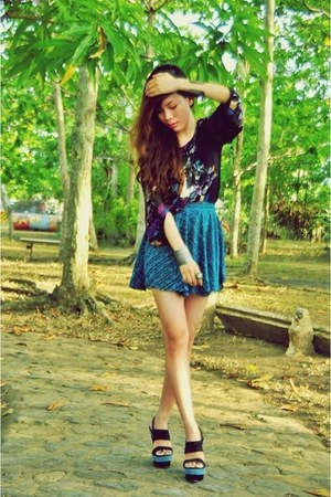 black floral cotton on top - turquoise blue glitter DIY skirt