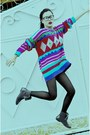 Fur-random-from-hong-kong-boots-striped-united-colors-of-benetton-sweater-wa