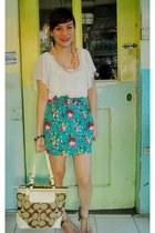 dark khaki coach bag - turquoise blue floral Pink Manila skirt - nude sm dept st