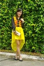 Gold-clutch-bag-black-rubber-terra-agua-flats-yellow-mullet-bubbles-skirt