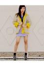 Light-purple-velvet-forever-21-dress-yellow-dotted-liz-clairborne-blazer-bla