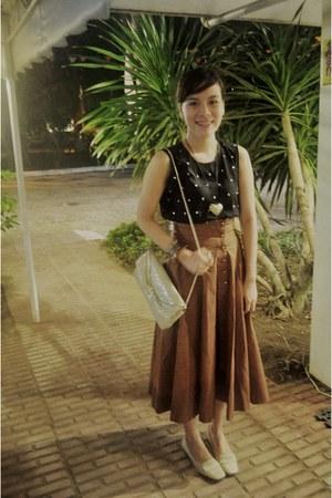 eggshell bag - brogues Easy Spirit flats - maxi skirt vintage skirt - studded Fo