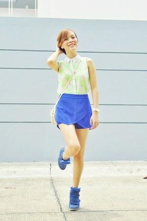 blue skort Zara skirt - off white shoulder bag vintage bag