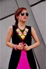 Yellow-neon-bubbles-necklace-hot-pink-fringe-dress-black-button-down-vest