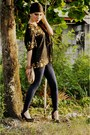 Navy-random-brand-leggings-black-used-as-bandana-vintage-scarf-bronze-vintag