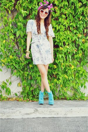 navy floral vintage dress - aquamarine Asian Vogue boots