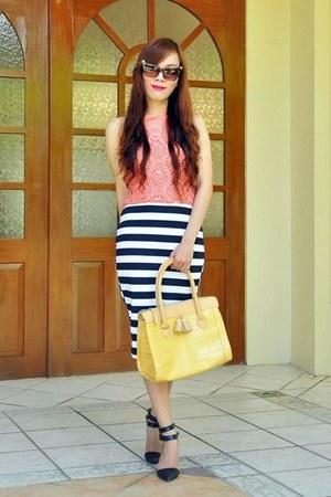 black stripes She Likes skirt - light yellow tote Mango bag
