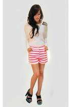 hot pink striped Mizar Clothing shorts - white spiked Mizar Clothing top