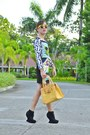 Yellow-retro-foymall-sunglasses-black-bodycon-omg-fashion-dress