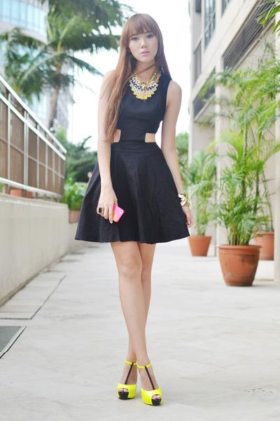 Shop Akira dress - apartment 8 necklace - feet for a queen heels