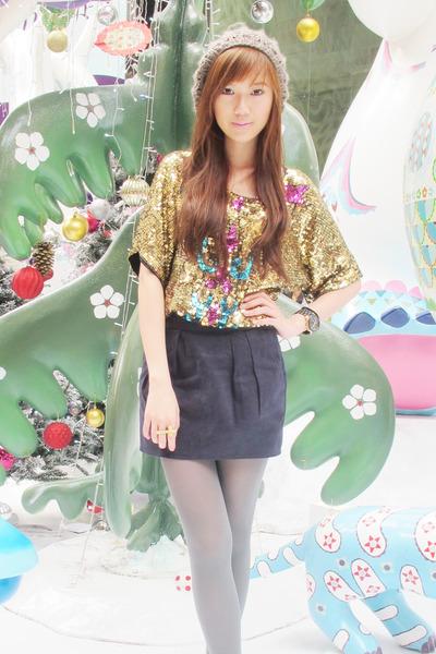 H&M hat - gra stockings - Topshop skirt - Gold Dot - Jean for Joseph Le Bon top