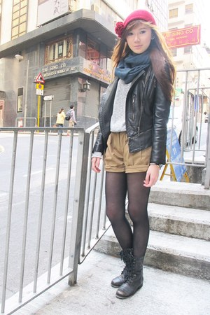 leather korea jacket - Aldo boots - H&M hat - Topshop sweater - Prada bag