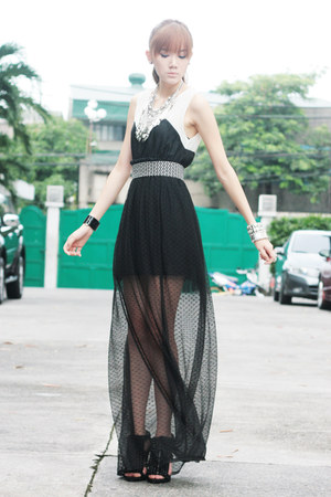 sheer Coexist skirt - WAGW dress - Mauve necklace - sm accessories ring