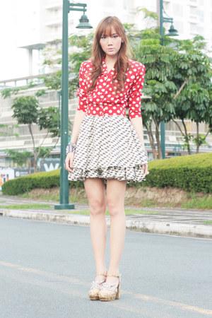 polka dot Shop Vintage Findss blouse - Five By Five shoes - She Inside dress