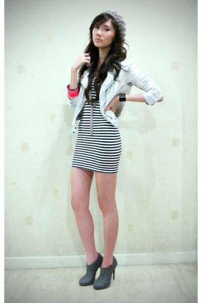 denim jacket Mango jacket - bangles H&M - necklace Mango - dress Topshop