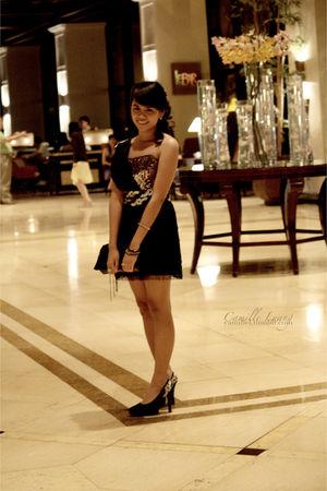 black Victorias Secret purse - black Custom-made dress - black Custom-made shoes
