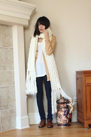blue f21 jeans - beige H&M scarf - white tank top H&M