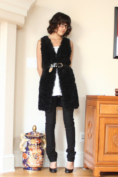 J Brand jeans - black Chinese Laundry shoes - tank H&M top - handmade vest