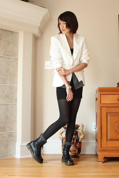 Ellen Tracy blazer - American Apparel - American Apparel dress - Doc Marten
