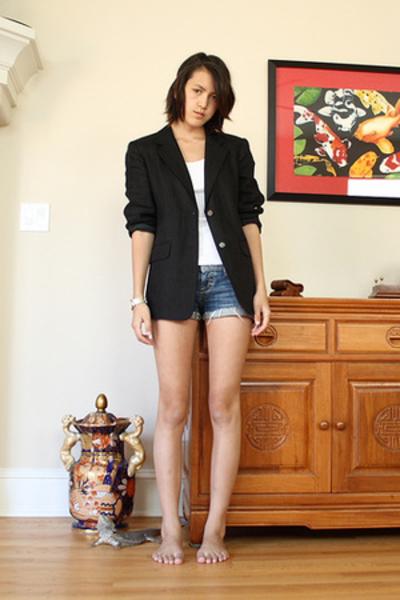 talbots blazer - American Apparel top - American Eagle shorts -