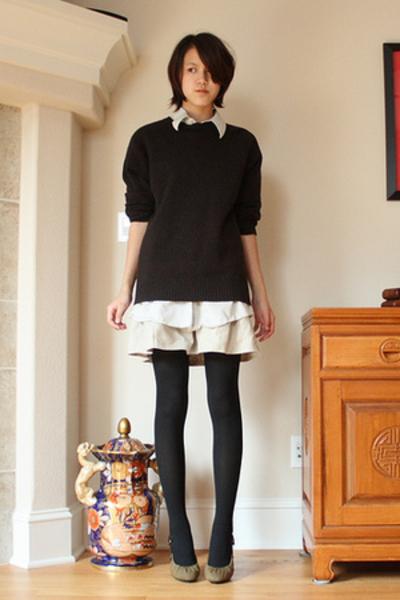 J Crew sweater - calvin klein shirt - handmade skirt - Dries Van Noten shoes