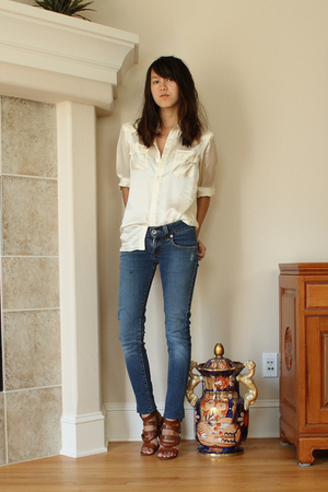 thrifted silk shirt - Dries Van Noten shoes - Levis jeans