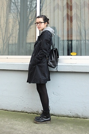 Gap coat - American Apparel - doc martens - coach