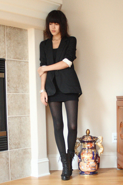 black Target blazer - black American Apparel dress - black tights Wolford