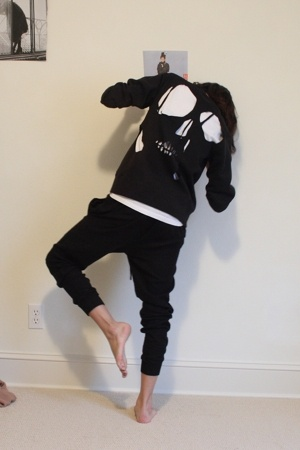 black drop crotch Zara pants - black diy cutout sweater