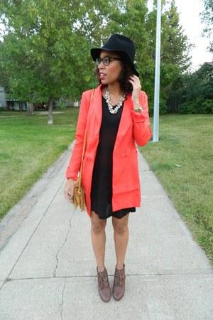 carrot orange Nasty Gal blazer - black H&M dress - dark gray Nasty Gal hat