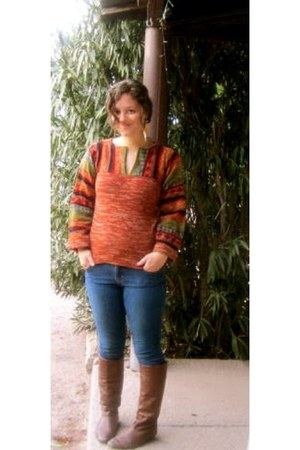 brown thrifted vintage boots - blue Old Navy jeans - vintage from Ebay sweater -