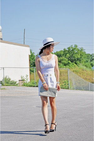 Khols hat - rj bag - Kookai top - Nine West pumps - Armarni Exchange skirt