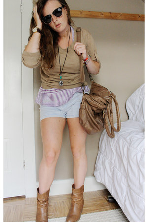 camel Payless boots - camel Urban Outfitters bag - light blue Suzy Sheir shorts