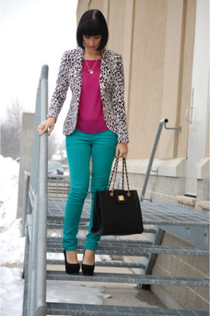black H&M blazer - hot pink Smart Set top - turquoise blue Forever 21 pants