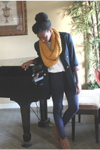 circle scarf Forever 21 scarf - Georges Marciano blazer - H&M pants