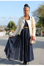 blue lace maxi skirt handmade dress - off white leather Forever 21 jacket
