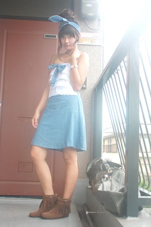blue ckawaiilovermultiplycom accessories - blue Shoponblogcom dress - brown Cine