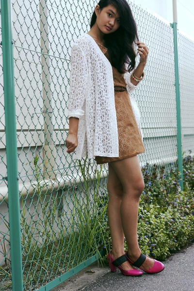 bronze lace vintage dress - ivory lace vintage cardigan