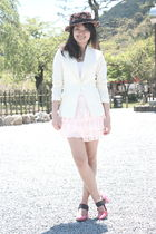 pink hat - white blazer - white blouse - pink skirt - pink shoes
